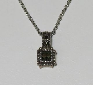 New Judith Jack Designer Sterling Silver Marcasite Stones Pendant Chain Womens