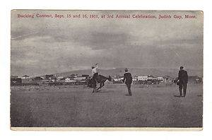 1912 Postcard Judith Gap Montana Bucking Contest Cowboys Rodeo