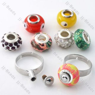 20pc Screw Bar Finger Rings Silver Tone Fit European Beads Adjustable Size