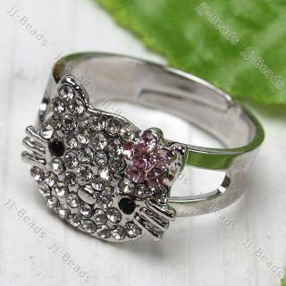 1P Pink Crystal HelloKitty Adjustable Cocktail Ring SZ9
