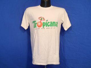 Vintage 80s Tropicana Summer Orange Juice OJ White Logo T Shirt Medium M