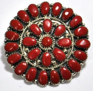 Navajo Coral Cluster Sterling Silver Pendant Pin Juliana Williams