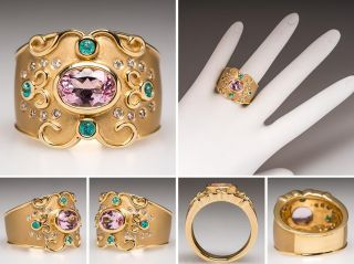 Judy Mayfield Ring w Morganite Paraiba Tourmaline Diamonds Solid 18K Gold