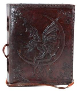 FAIRY MOON LEATHER JOURNAL Witch Wicca Pagan BOS Goth Punk Druid NewAge Goddess