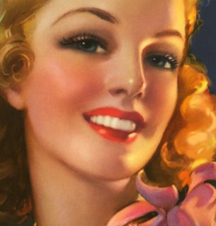 JULES ERBIT 1940S WINSOME A SMILE FOR YOU PIN UP PRINT GOOD GIRL ART GGA MINT