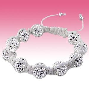 Sterling Silver White Crystal Iced Out Disco Balls Black Cord Shamballa Bracelet