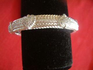 Stunning Judith Ripka Sterling Silver 925 Heart Diamonique Hinged Bracelet Cuff