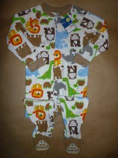 New Pajamas Fleece Blanket Footed Monkey Dinosaur Lion Animal Boy Girl