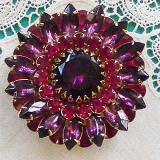 Large JUDY LEE Signed Rhinestone Pin Purple Fuscia Vintage Layered