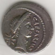 Julius Caesar Rome Portrait Silver Denarius