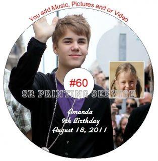 Justin Bieber Birthday Favor CD DVD Personalized Custom