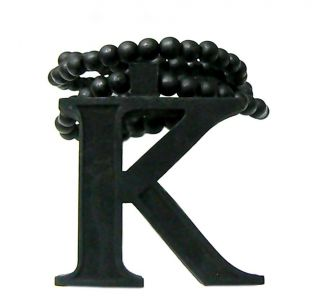 Black Carved Letter K Initial Wood Wooden Pendant Beaded Necklace Hip