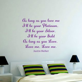 Justin Bieber as Long as You Love Me Lyrics Vinyl Wall Art Sticker