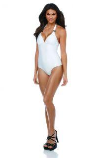 Kardashian Kollection ,White Buckle Halter One Piece Swimsuit, Size