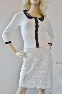 Karen Millen Beaded Collar Merino Wool Block Christmas Jumper Cardigan