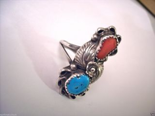 vintage navajo signed sterling silver tj turquoise & coral native