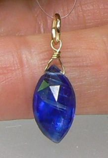 Kashmere Blue Faceted Marquise Kyanite 14k Gold Pendant