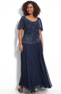 Kara NAVY BLUE Floral Beaded Mock 2 Piece Chiffon Gown Plus 18W MSRP