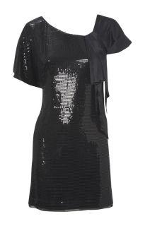 Karen MILLEN Black Sparkling Beaded black dress Christmas perfect SZ 8