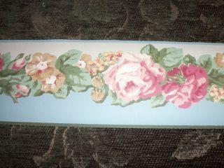 Katzenbach Warren Wallpaper Border Green Pink Gold Flowers Floral 1