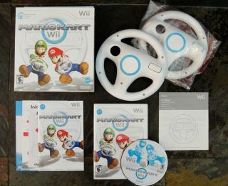 Mario Kart Wii Game with 2 Wii Wheels Bundle