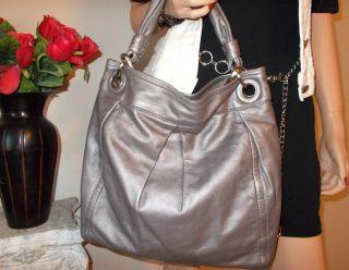 Coach XL Parker Gunmetal Leather RARE Hippie Crossbody Shoulder Bag