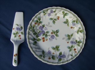 White Serving plate with purple flowers gold edging Centurion