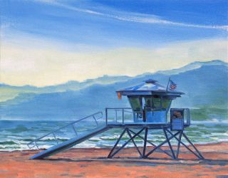 Lifeguard Original Impressionist Landscape Painting Keating