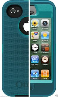 New Otterbox Defender Case Cover for iPhone 4 4S Teal Belt Clip