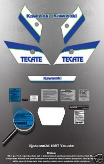 Kawasaki Tecate 1987 Decal Graphic Kit Like