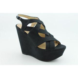 Kelsi Dagger Nadeen Womens Size 8 5 Black Open Toe Fabric Wedges Shoes