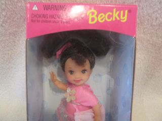 Becky Barbie baby sister Kelly Doll Brunette Hair Brown Eyes Dress NIB
