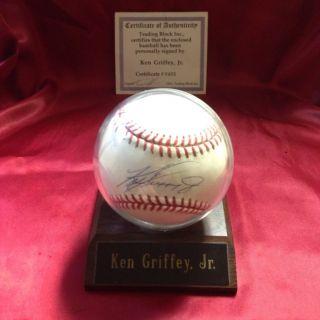 KEN GRIFFEY JR AUTOGRAPHED BASEBALL IN DISPLAY CASE & CERT OF