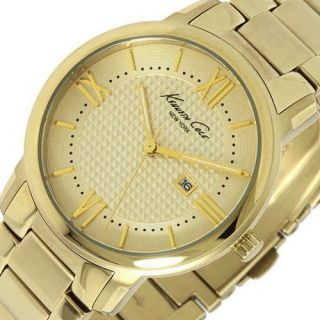 Kenneth Cole New York Womens Round Watch Gold Tone Steel Bracelet