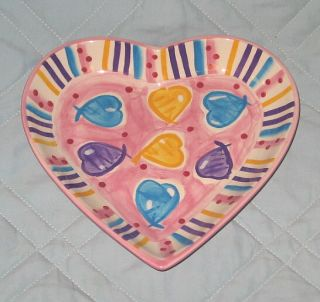 Hausenware Libby Wilkie Valentines Day Ceramic Heart Shaped Dish New