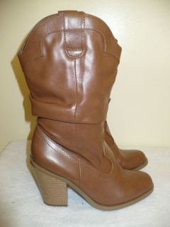Kensie Girl brown faux leather cowboy high heel boots slouchy shoes 6