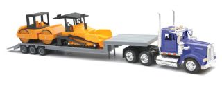 W900 CONSTRUCTION LOWBOY 1 43 W ROAD ROLLER DIECAST NEW BLUE TOY TRUCK