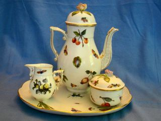 Herend Porcelain Hand Painted Coffee Tea Set Tray