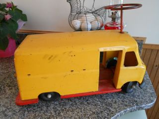 Vintage Early Pressed Steel Ride on Panel Truck Delivery Van Buddy L
