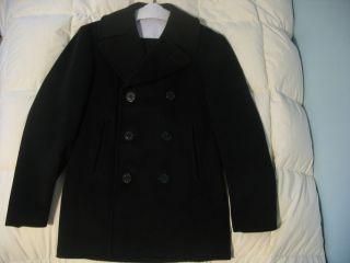 Vietnam War Official US Navy 100 Wool Kersey Pea Coat Size 36R USN