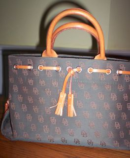 Dooney Bourke Dark Green Fabric With DK Logo In Brown Tan Leather Trim