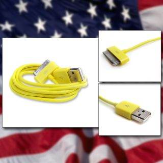 New 6ft Yellow USB Data Sync Charger Cable For iPod Touch iPhone 4S 4G
