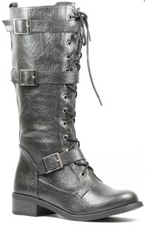 Buckled Lace Up Military Combat Tall Boot Soda Kevin H