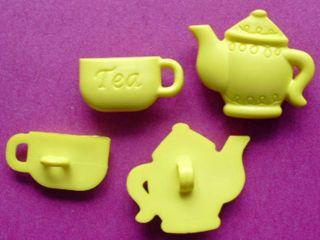 36 Pcs Teapot Cup of Tea Buttons Mix Applique Kid SB146
