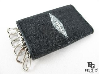 Genuine Stingray Skin Leather Keychains Key Holder Wallet Black