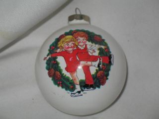 Campbell Soup Kids Ice Skating Glass Ornament 1983