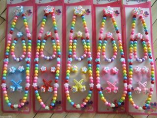 Sets Children Girl Kids Fashion Jewelry Necklace Bracelet Hair Clips