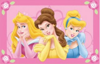 Disney Princess Pink Kids Rug Mat 50x75 Licenced Washable New