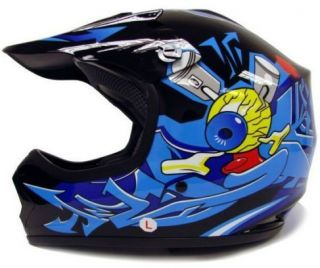 Youth Kids ATV Motocross Dirt Bike Black Blue Punk MX Helmet s M L