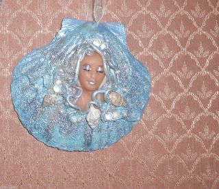 fantasy art handmade OOAK mermaid in a sea shell LIGHT BLUE ornament